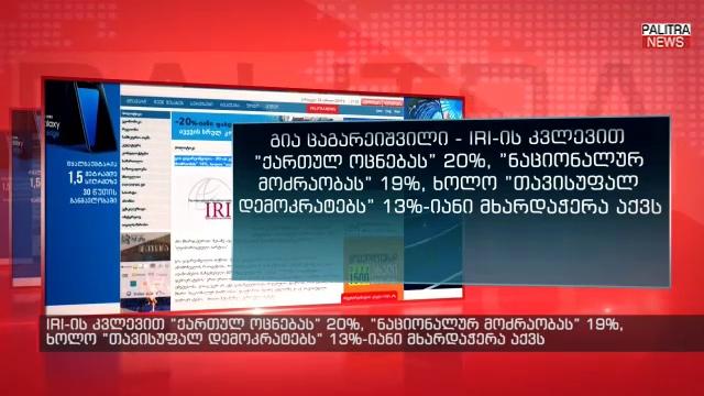 "IRI-ის კვლევით ""ქართულ ოცნებას"" 20%, ""ნაციონალურ მოძრაობას"" 19%, ხოლო ""თავისუფალ დემოკრატებს"" 13%-იანი მხარდაჭერა აქვს - გია ცაგარეიშვილი"